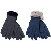 rjm Ladies Quilted Gloves W Fur Trim Asst Colours (GL570)